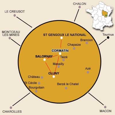 Covered area : Cormatin, Cluny, Salornay and surrounding area